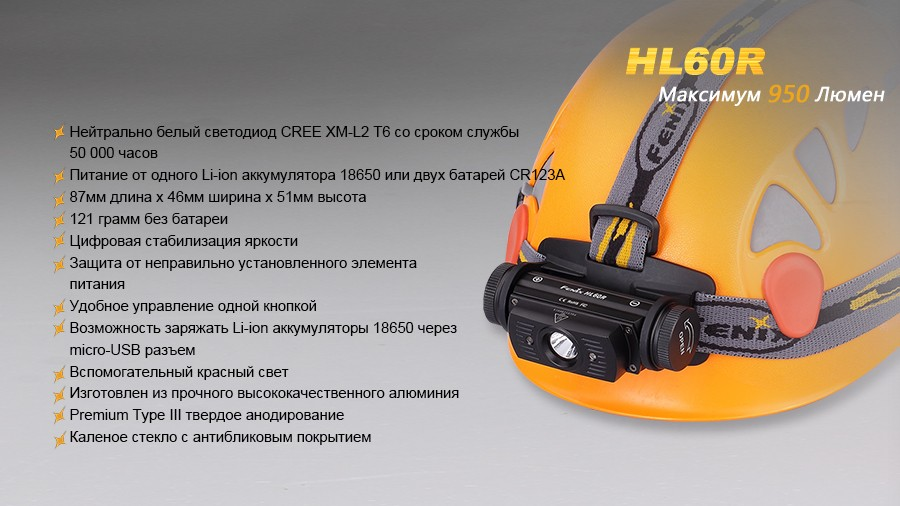 Налобный фонарь Fenix HL60R Cree XM-L2 T6 Neutral White LED
